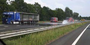 Accuzuur op A35 bij afrit Delden na ongeval