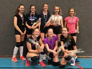 Titel en promotie voor meisjes B1 volleybalvereniging Devoc